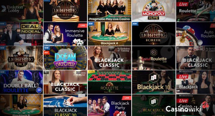 Zoek een live casino spel