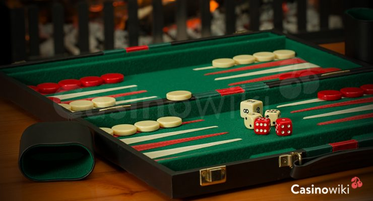 Het bord bij backgammon